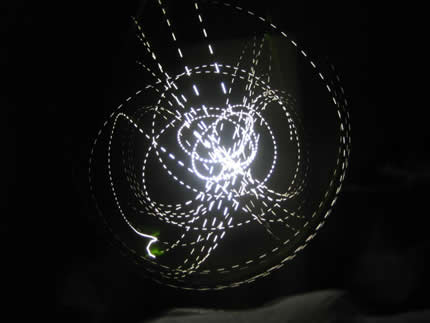 Drawing with a flashing LED, 30 sec exposure